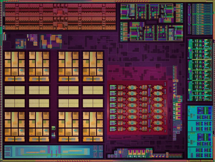 Renoir核心由於採用7nm製程的關係,可以集成多一倍的電晶體,因此CPU Cores的部分面積明顯有所增加。