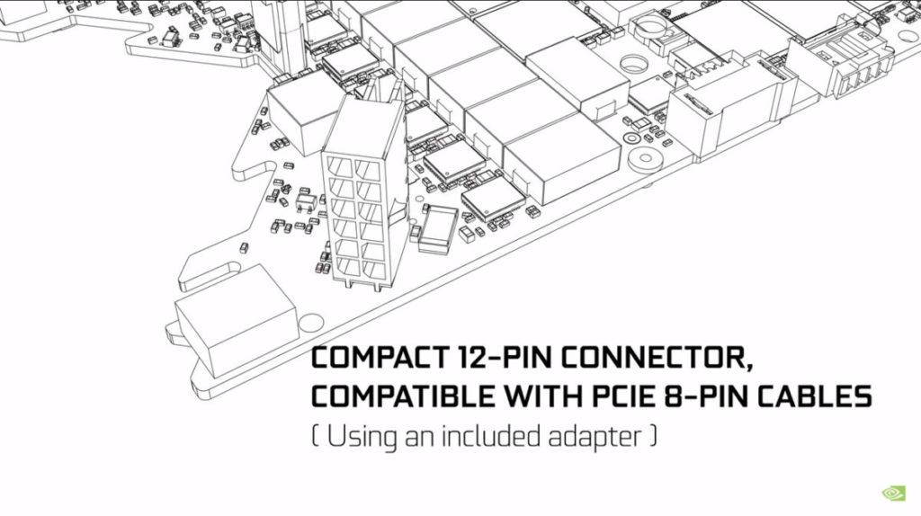 最終設計改用全新的   12pin 電源連接器設計,同時改用 V 形垂直佈局,留給空間給元件及散熱之用。此連接器加上一個內含的轉換器,可與現有的電源供應器的 8pin 連接器相容。