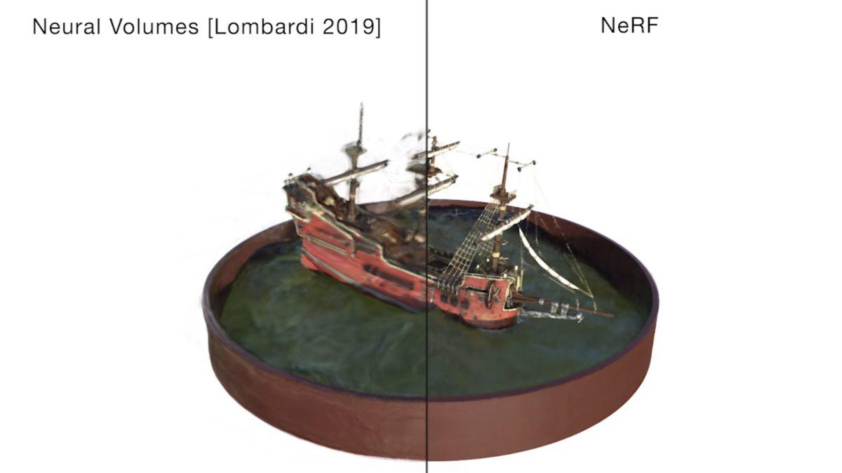 其他使用 CNN 卷積神經網絡技術所生成的圖像(左)和 NeRF 相比,精細程度高下立見。
