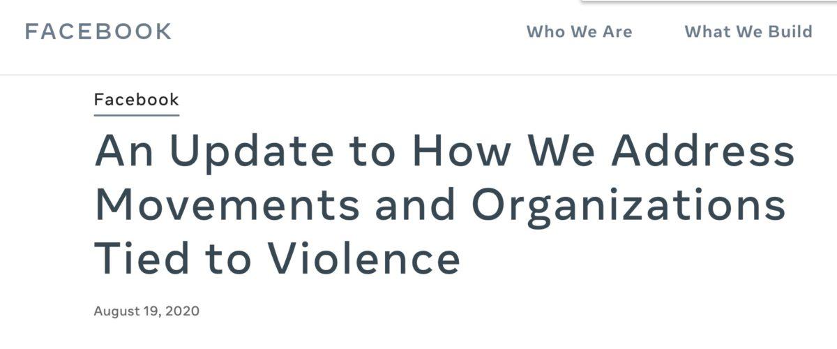 大選臨近,加上最近多次示威活動都演變成暴力搶掠, Facebook 也開始針對「匿名者 Q」集團採取行動。