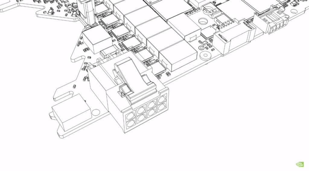在初期的實驗中,嘗試以單 8pin PCI-E 電源連接器設計,但仍會佔用一定PCB空間。