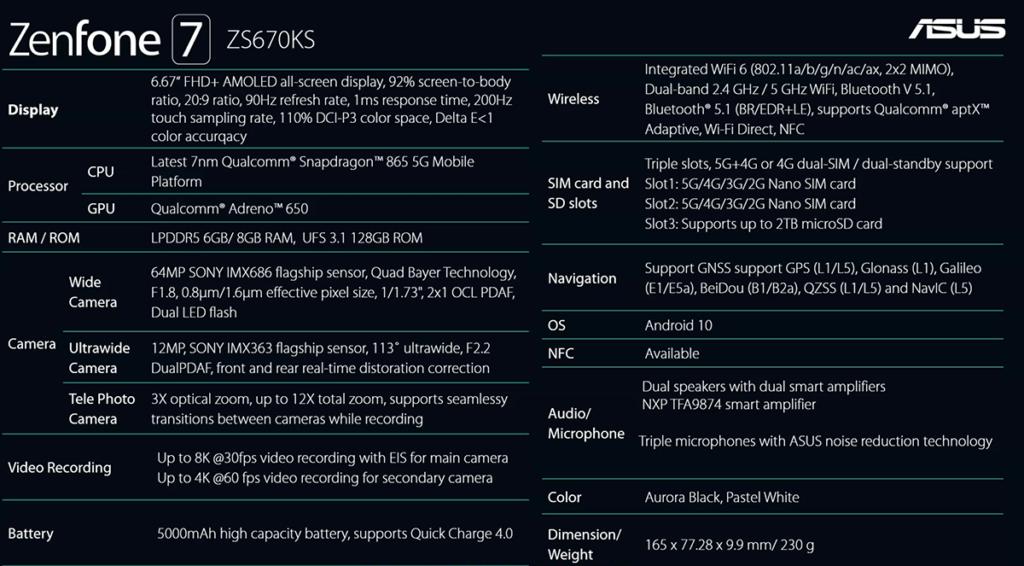 ZenFone 7 詳細規格。