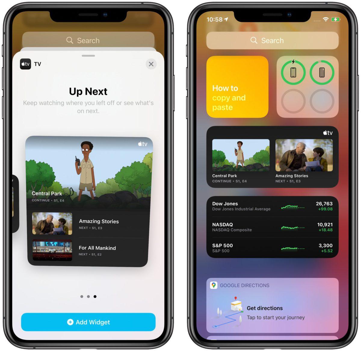 新的 Apple TV Widget 顯示正在追看和推介劇集。