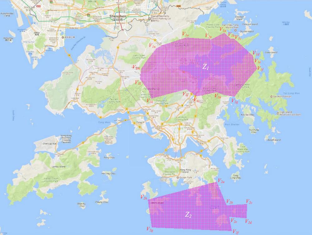 香港 5G 限制區地圖。