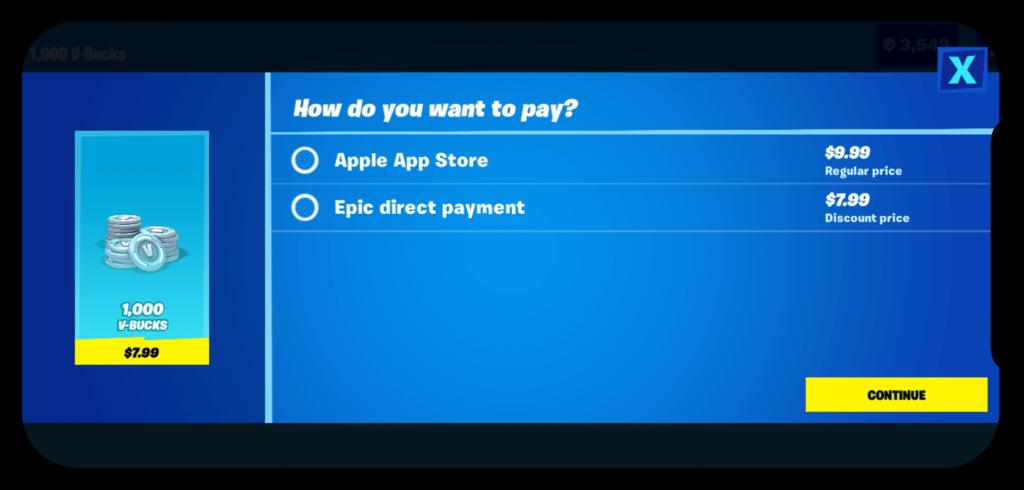 《要塞英雄( Fortnite )》因程式內提供直接購買代幣功能,甚至比經 App Store 買便宜,而令遊戲於雙平台被下架。