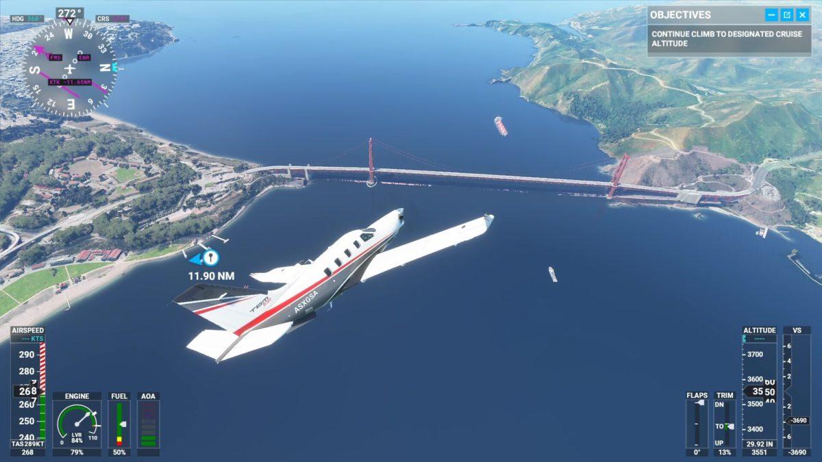 Microsoft Flight Simulator 2020 飛越金門橋,可以看出這 30 多年來個人電腦技術上的進步。