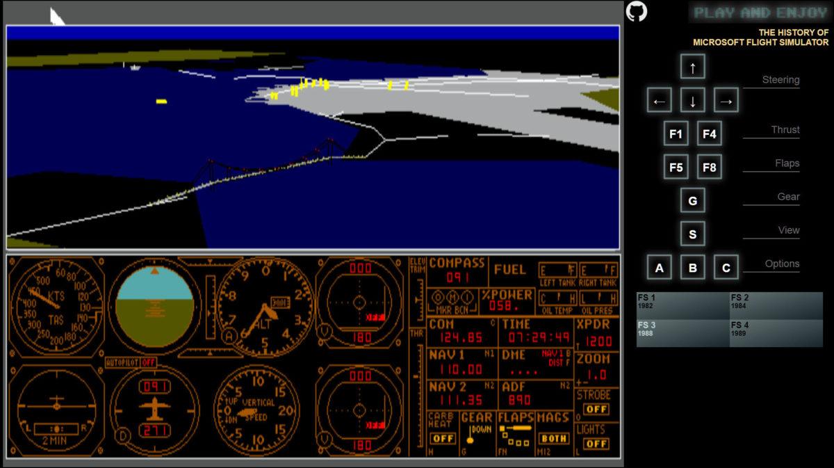 1988 年版 Flight Sim 飛越金門橋。
