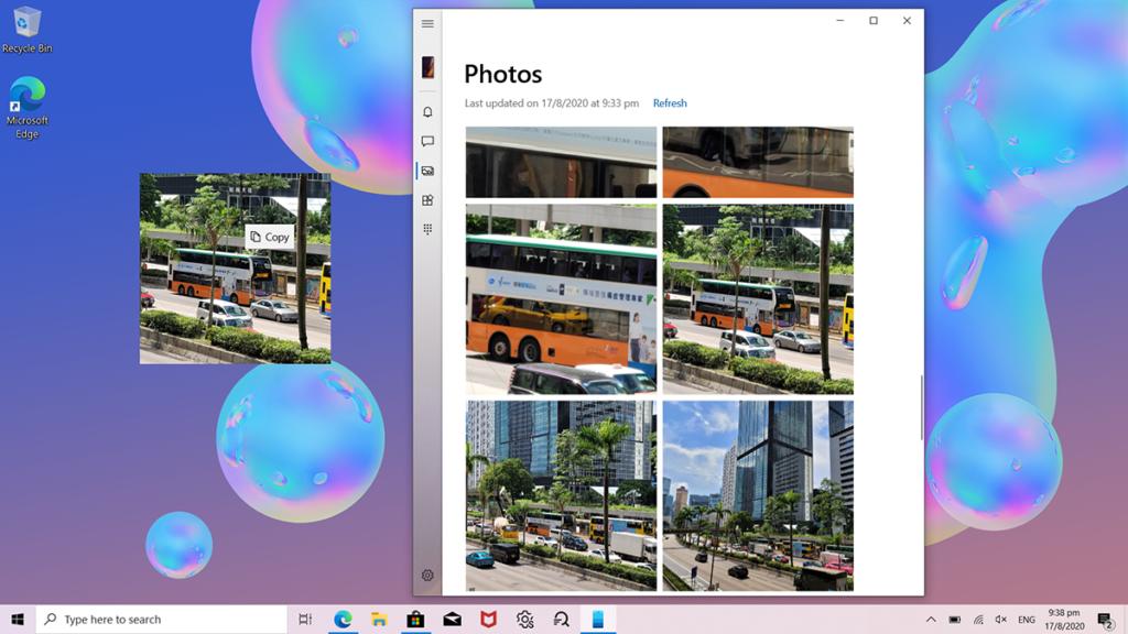 升級的「Link to Windows」功能,使 Galaxy Note20 5G 與 Windows 10 電腦簡單地互相共享檔案,一拖曳即可放到電腦上面。