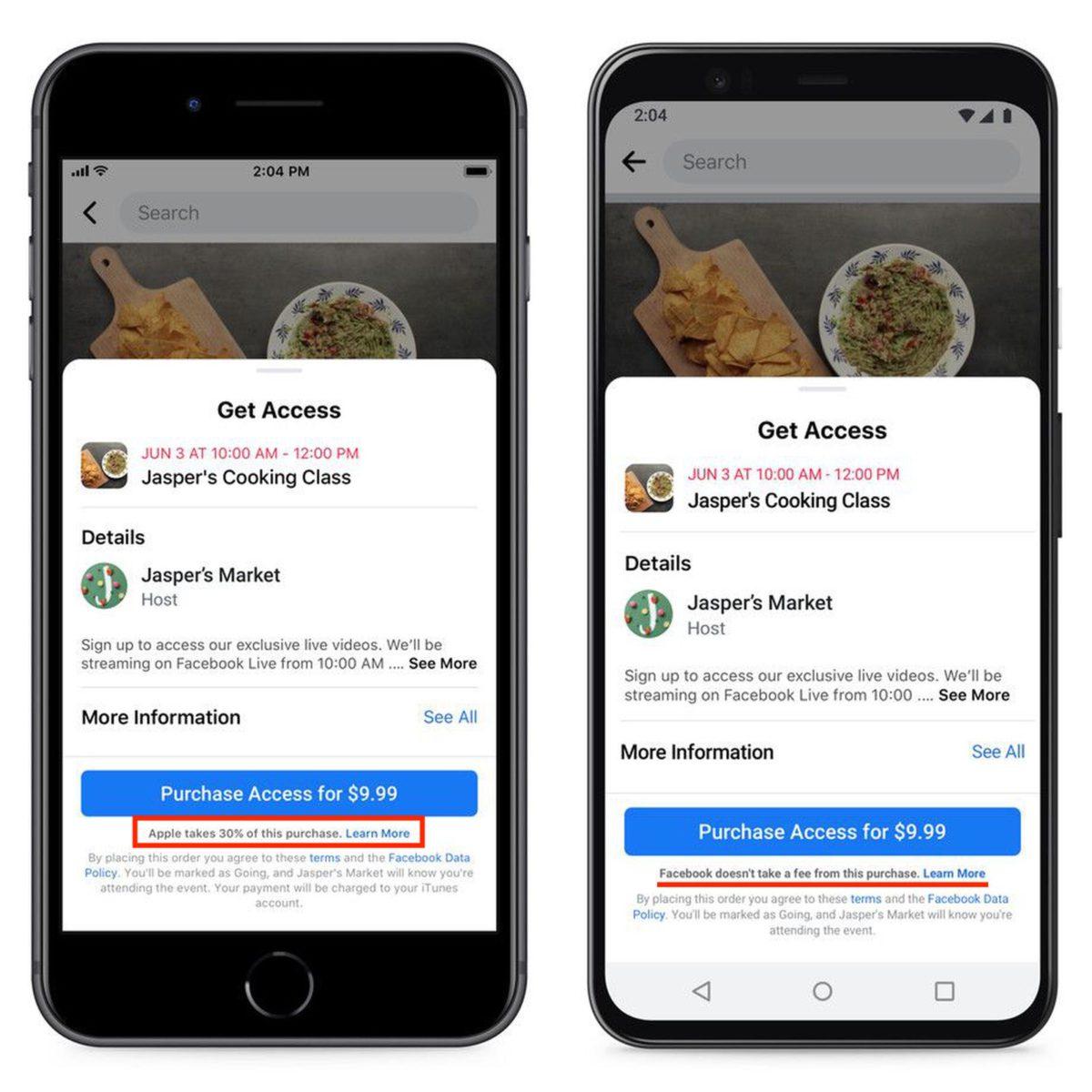 右邊是 Facebook 原本送審的 iOS 版程式,標示了 Apple 抽取 30% 分成。右邊是 Facebook 說打算在 Android App 裡加入的聲明,但結果也沒有貼出⋯⋯
