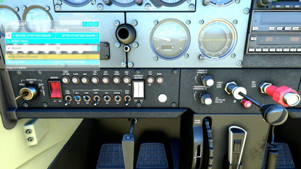 起飛前,有一系列check list 要處理,你可以順道認識不同飛機機按鈕面板,不同錶板比較細,除了放大看,換一個大畫面顯示器更有幫助。
