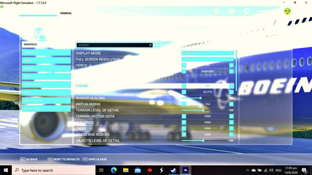 Flight Simulator 支援最高 4K 60fps HDR 畫質輸出,在測試的 HP OMEN 17 Core i7 + RTX 2080 Super 下,畫質可以全開最高設定。