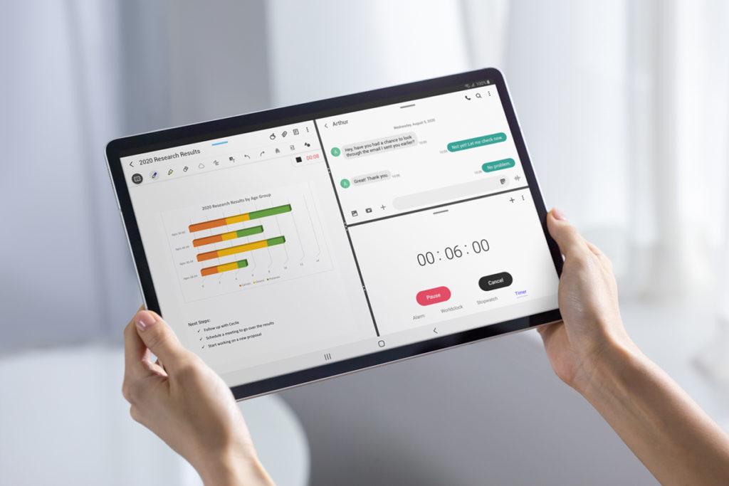 屏幕夠大,最多可分割成三個應用程式同時使用。