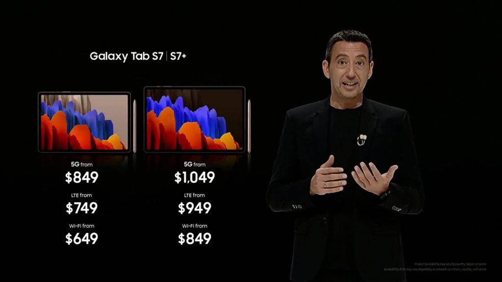 Samsung Galaxy Tab S7 及 Galaxy Tab S7 + 均備有 Wi-Fi 版、LTE 版及 5G 版,前者由 $649 美元起、後者則由 $849 美元起。