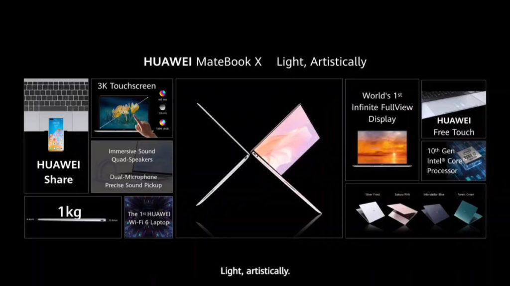 採用 3000 x 2000 解像度的 LTPS 屏幕,並支援 HUAWEI Share 功能
