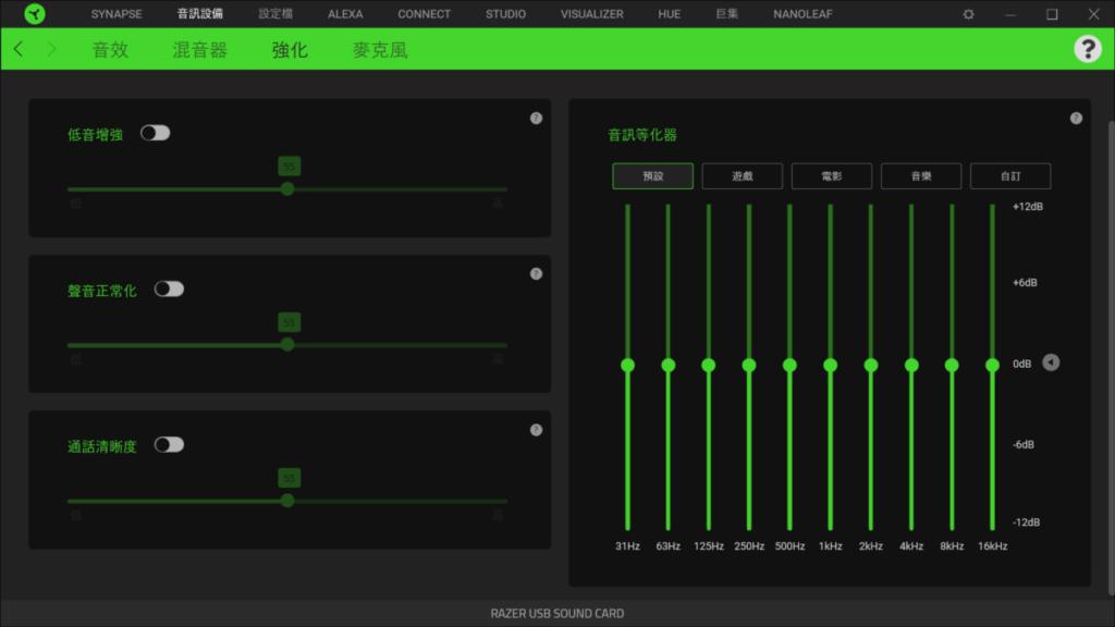 「 Razer Synapse 3 」提供了豐富的音效強化設定。
