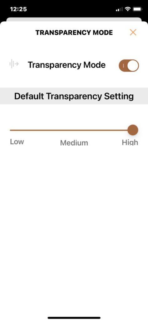 調節 Transparency Mode (通透模式) 的等級