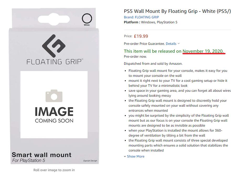 英國 Amazon 則有一組  PS5 掛牆架會於當地 11 月 19 日推出。