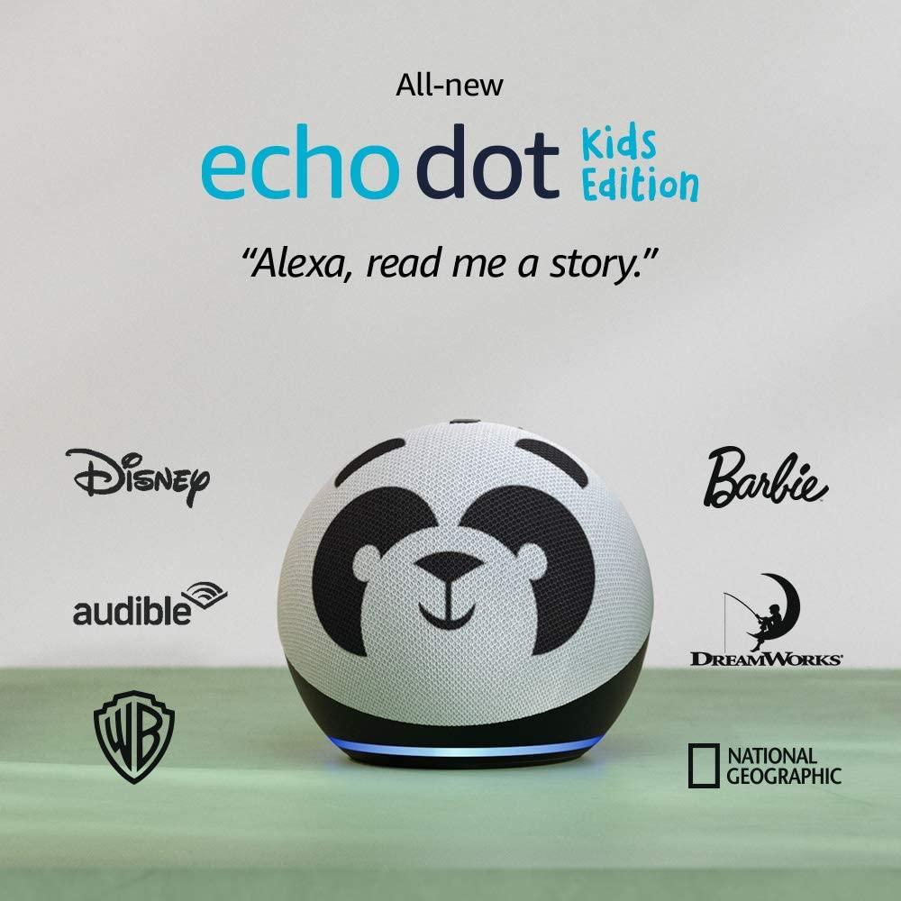 新的 Echo Dot Kids Edition 有熊貓和老虎兩種圖案,設計可愛。