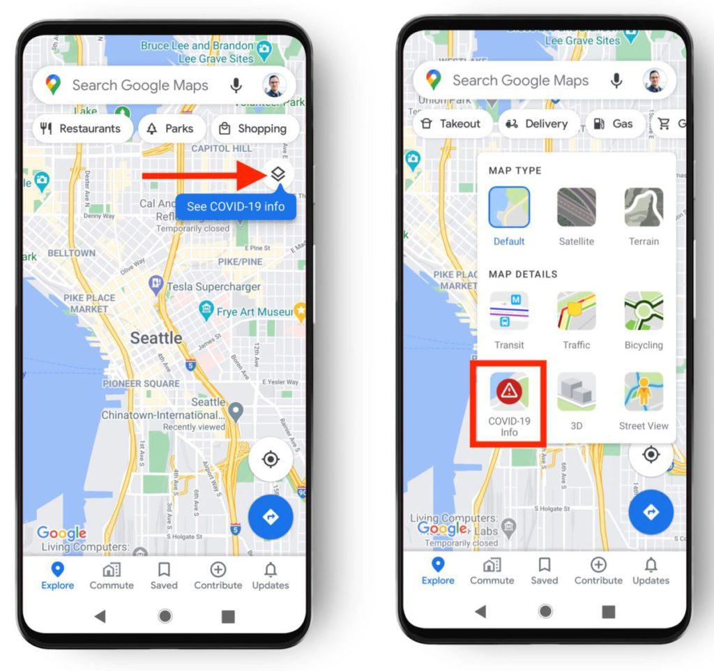 在 Google Maps 點擊右邊的圖層圖示,就會見到新增的 COVID-19 資訊圖層。