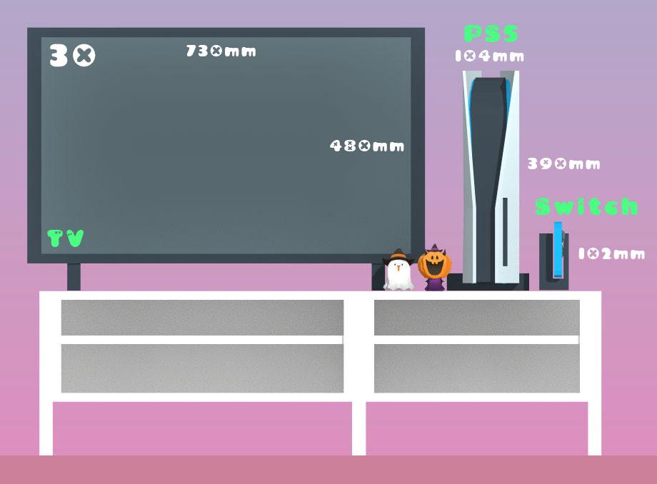 跟 30 吋電視相比,就可以看到 PS5 主機的巨大。