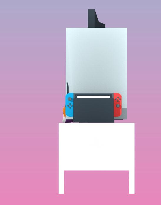 從側邊看就更加驚嚇,灰色的就是 PS5 主機。