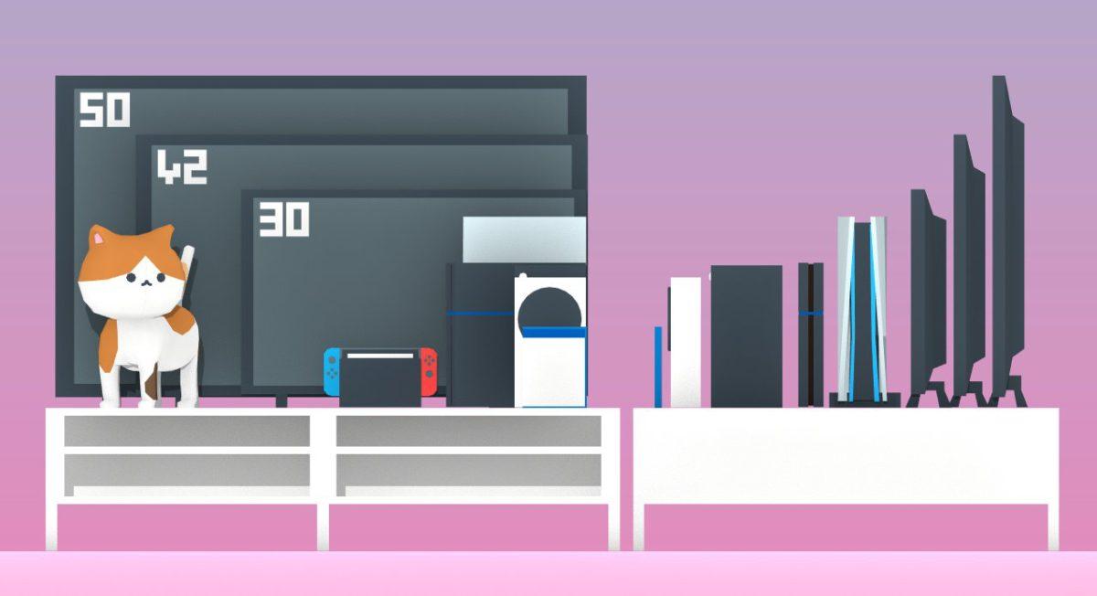 不同尺寸電視與次世代遊戲機的正、側面大小比較。