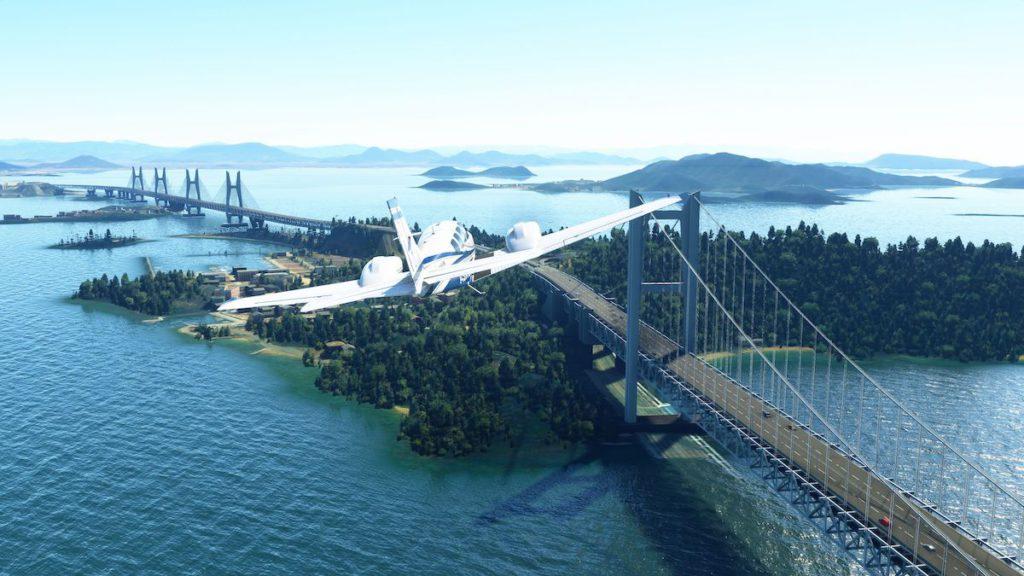 用 4K 電視飛過瀨戶大橋,正!