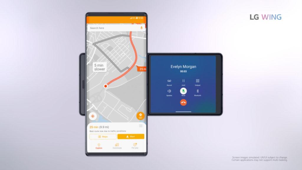 亦可邊觀看地圖邊使用 Handsfree 功能,而不會影響地圖行車路徑顯示。