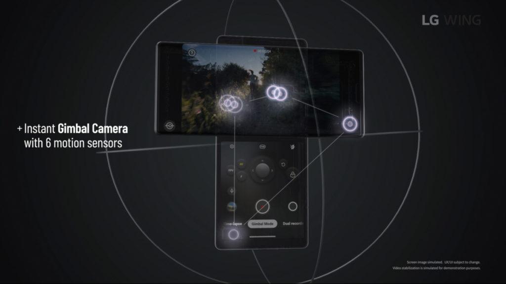 利用六個不同的感應器,將手機雲台的概念融入 LG Wing 內。當使用 Gimbal Mode 時,副屏幕會變成極似一般手機雲台的操作介面。