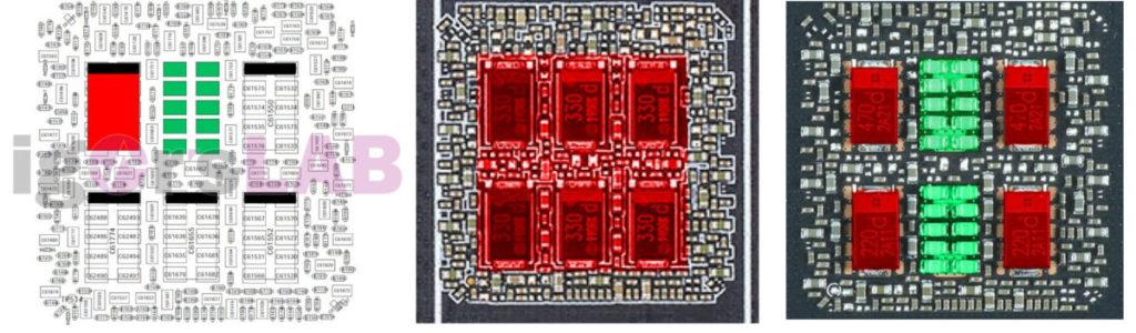 紅色的是 POSCAP ,綠色的是 MLCC ,右圖就是混合使用的情況。(來源:igor'sLAB )