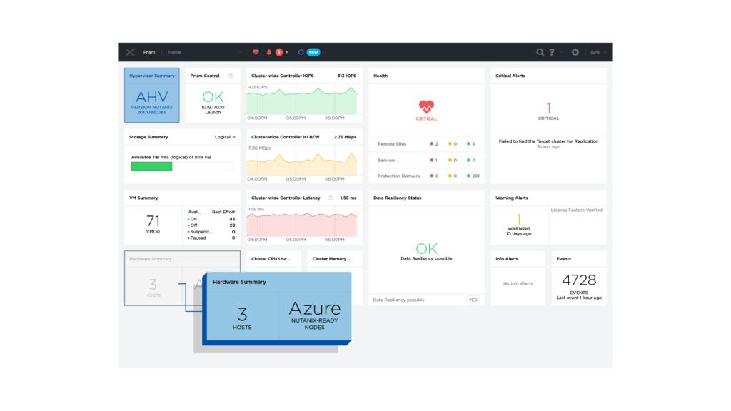 在同一介面上管理 Nutanix 和 Azure 的資源。