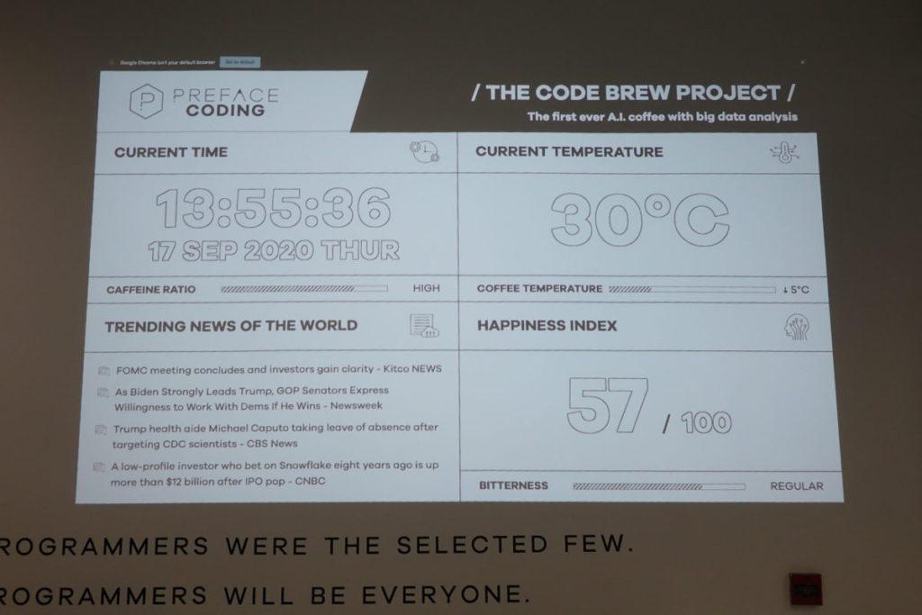 店內顯示決定咖啡味道的三大指標數值。