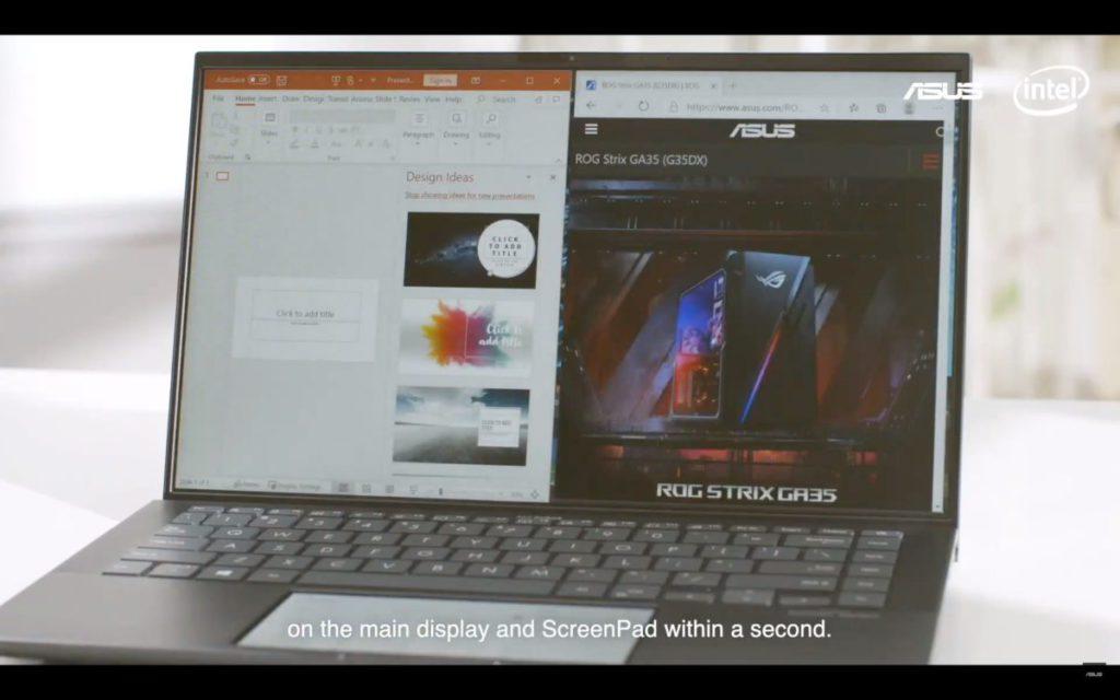 主螢幕連同 Screenpad 使用可大大提升工作效率。