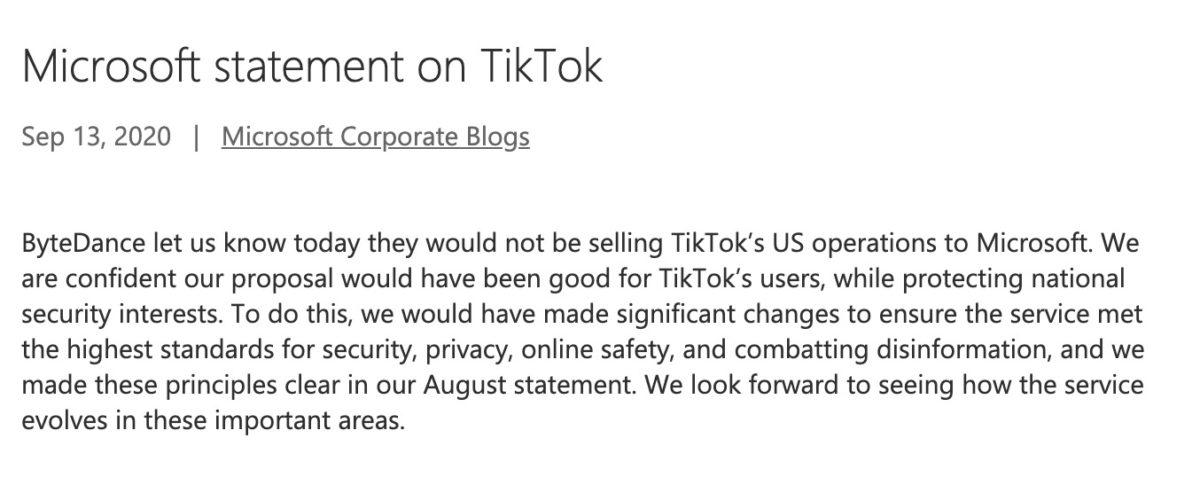 Microsoft 發表聲明,承認收購 TikTok 失敗。