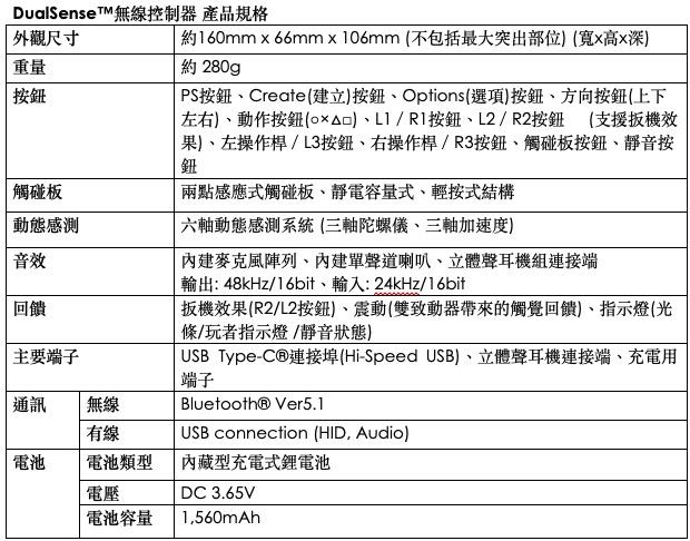 DualSense 無線控制器規格