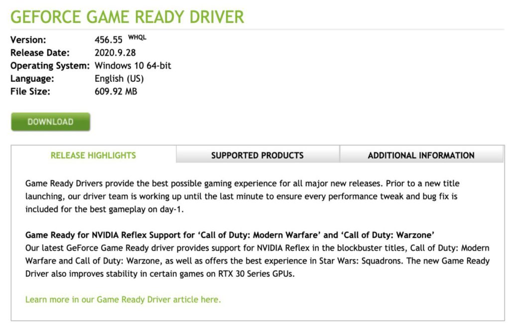 Nvidia 剛釋出 Geforce Game Ready Driver 版本 456.55 。