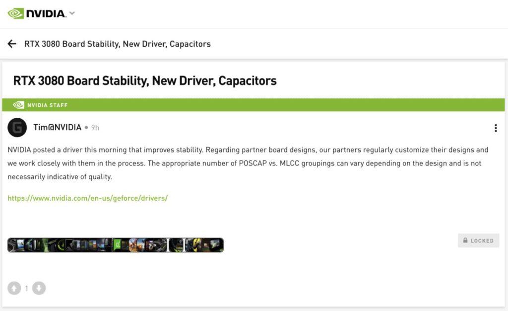 NVIDIA 官方討論區的管理員 Tim@NVIDIA 今日凌晨以「 RTX 3080 顯示卡穩定性、新驅動程式、電容」為題發表的帖文。
