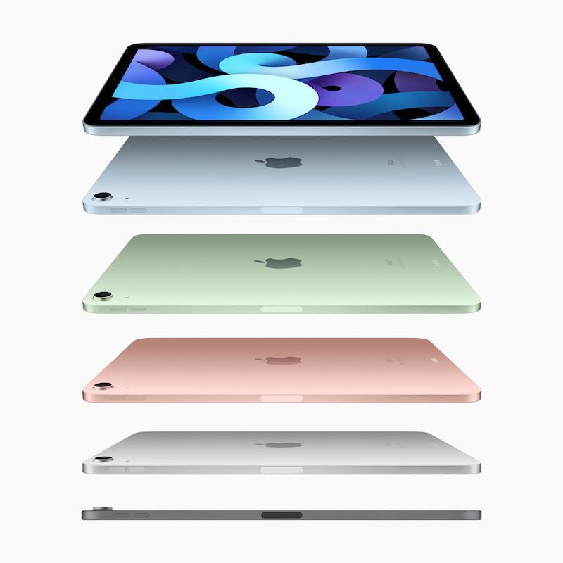 第 4 代 iPad Air 改用了 iPad Pro 的方角邊框設計,而且提供 5 種不同顏色選擇。