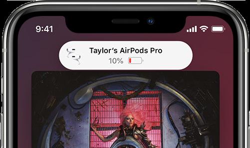 當 AirPods 電池快用光的時候,iPhone 會發出提示。