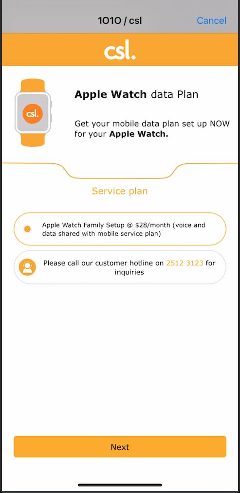 完成前半段的設定,跟住於 Set Up Mobile Data 時,便可為家人的 Apple Watch 選擇月費計劃,其實只得一個 $28。