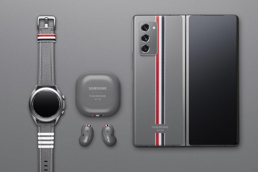 Galaxy Z Fold2 Thom Browne 特別版隨盒附有以 Thom Browne 標誌性設計的 Galaxy Z Fold2、Galaxy Watch3、Galaxy Buds Live 及一系列訂製配件。