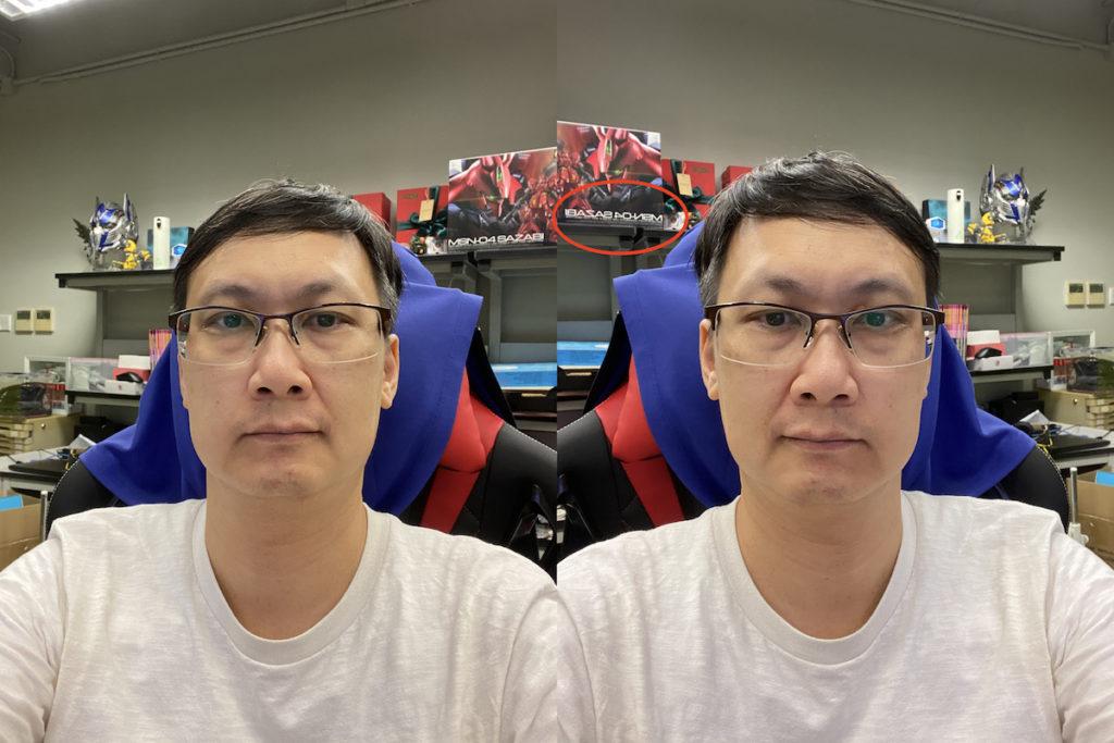 開啟「鏡像前置鏡頭」功能前,相片會左右對調,樣貌很不自然(左)。而開啟功能後(右),雖然樣貌自然得多,但是如果畫面上有文字,就會全被鏡像反轉。