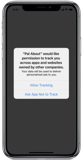 iOS 14 裡如果程式要使用第三方程式來追踪用戶時會要求用戶批准。
