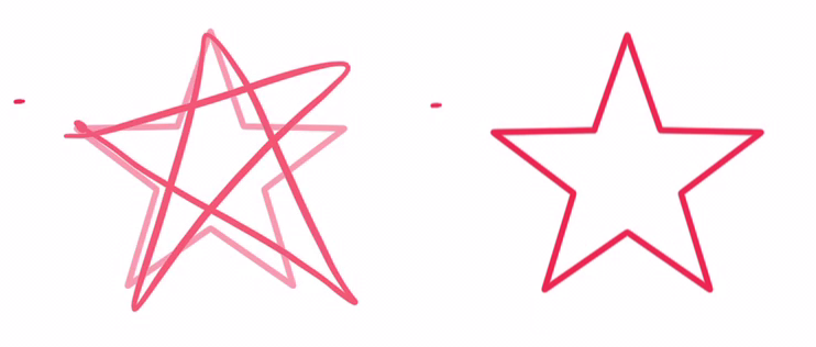 繪畫時在畫筆離開屏幕前停一會,就會顯現辨識出來的完美形狀(左),畫筆一離開畫面,就會自動變換(右)。