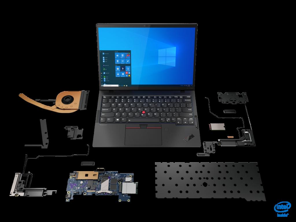 使用第 11 代 Core 處理器的 X1 NANO 系統內部已有高度整合性,主板只佔機身內部1/3, 其餘是Wi-Fi 6 和 5G 模組及天線,以及散熱裝置。