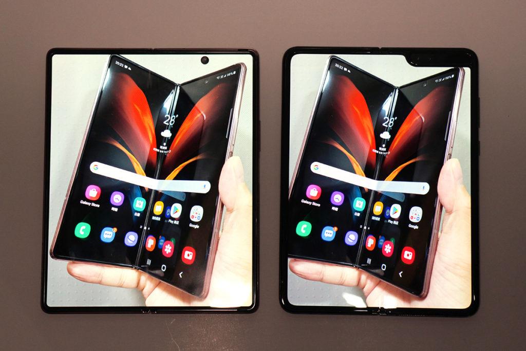 屏幕:Galaxy Z Fold2 的 7.6 吋 Infinity-O 極限全屏幕因使用開孔設計,而且未有像 Galaxy Fold 般使用雙鏡頭,因此沒有了缺角,觀感更為完整。