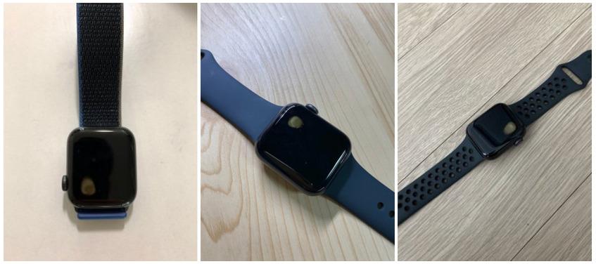 事故發生後,物主上載的相片,可以看見屏幕近錶冠的位置懷疑因發熱而燒壞了
