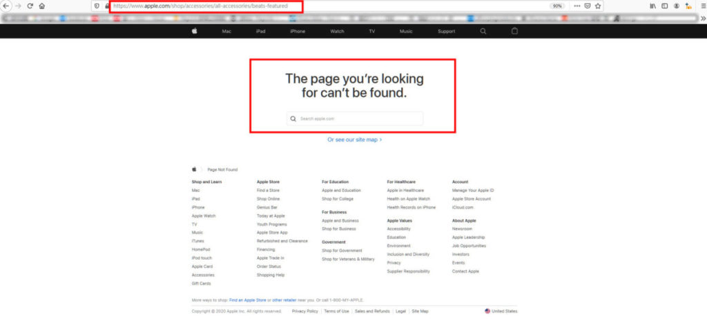 beats 耳機的頁面突然從 Apple 官網中失蹤