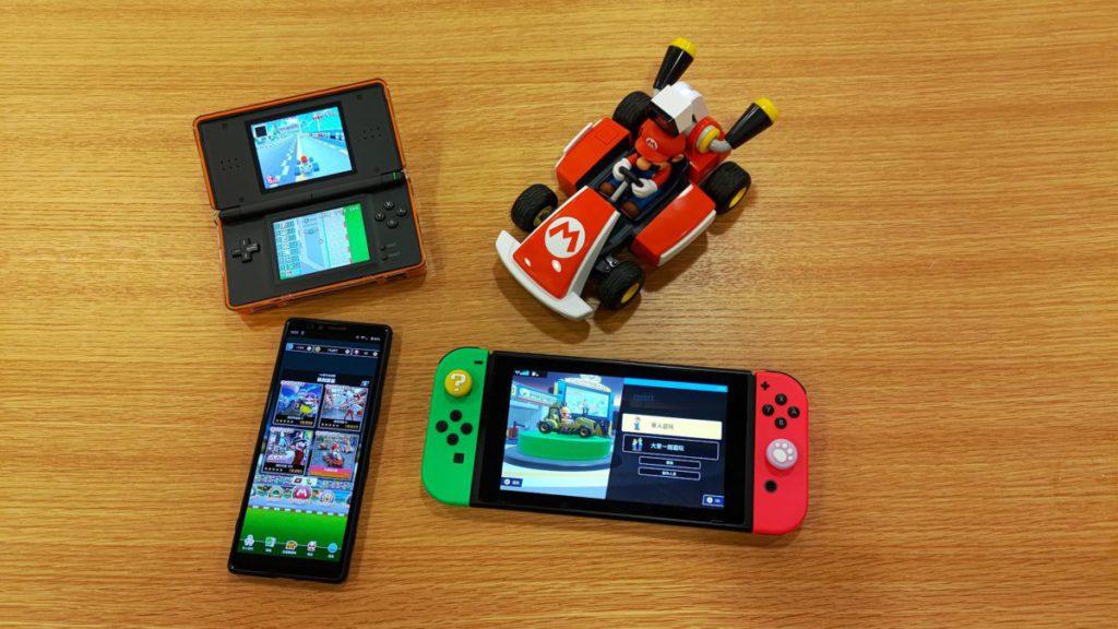 幾代手提版嘅《Mario Kart》,左上角就係NDS 版嘅《Mario Kart DS 》,左下角係手遊版嘅《Mario Kart Tour 》,右邊唔使 講都知係最新嘅Switch 版《Mario Kart Live 》啦。