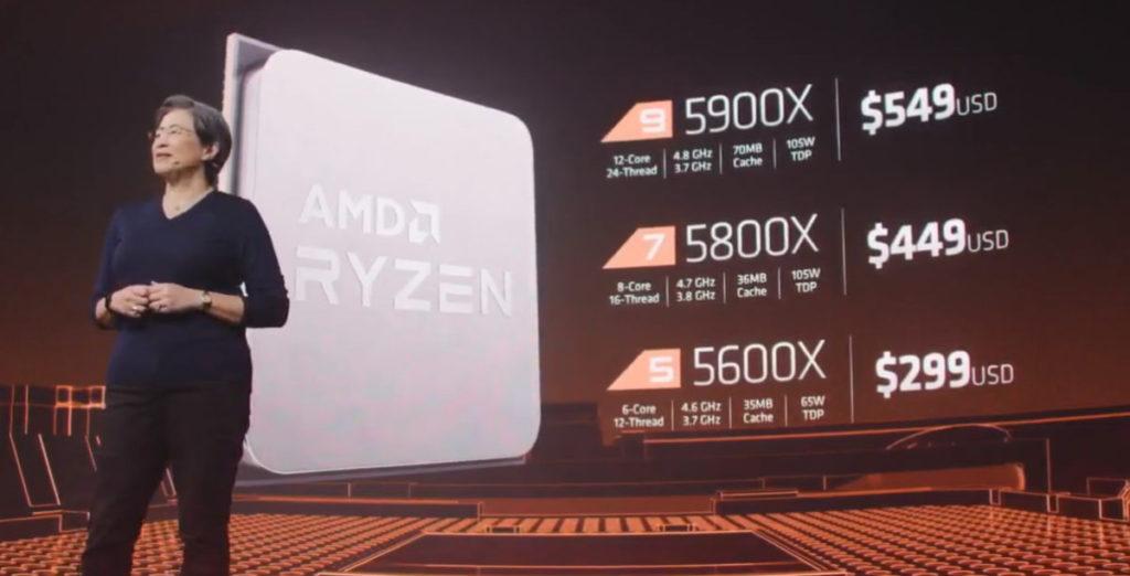 Zen 3 售價與現有 Zen 2 型號相約,如 5900X 為 US$549 , 5800X 售 US$449 及 5600 售 US$299。